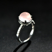 Thai silver ring 925 Thai female ethnic woman of fashion pink Crystal rings Valentine''s day gifts