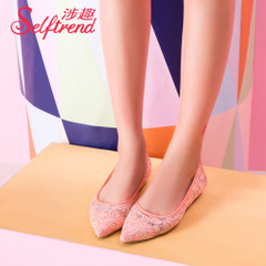 Interest involved 2015 new autumn sweet Rachel pointed lower screen cloth with high women shoes asakuchi shoes T51071