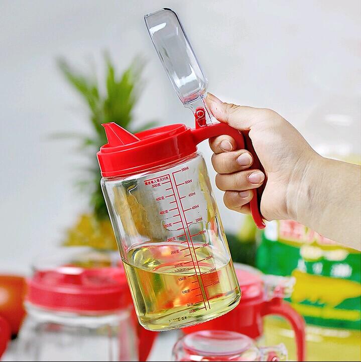 自动玻璃油壶厨房家用塑料防漏油罐酱油瓶醋壶大号小号装倒油瓶