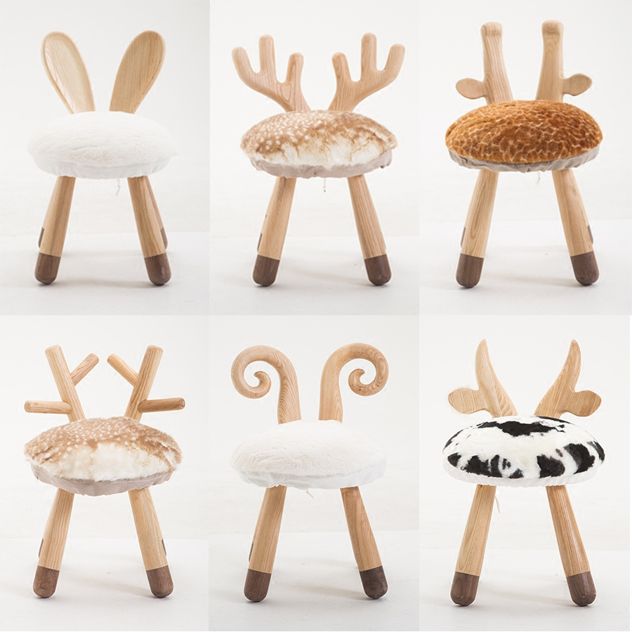 娜姐同款小鹿凳动物椅北欧实木儿童小板凳圆凳