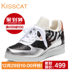 KISS CAT/Kiss cat leather casual sneaker head straps for a comfortable low heels shoes D55787-01SC