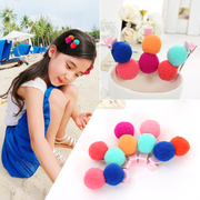 Know Richie children''s hair accessories hairpin girls Korean color plush ball ball card baby Chuck accessories