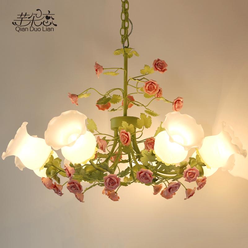 田园风格吊灯客厅灯具8头6头韩式铁艺花草花朵吊灯彩色创意 温馨-尚宁灯饰芊朵恋