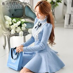 Long sleeve dress pink doll 2015 autumn new OL temperament slim slimming dresses