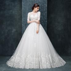 2016夏季新款一字肩蕾丝长袖新娘齐地婚纱礼服长拖尾修身显瘦大码