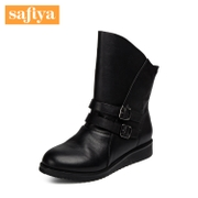 Safiya/Sophia 2015 winter new style leather belt buckle head with short boots shoes SF541144X2