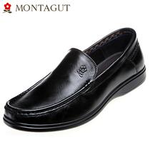 梦特娇男鞋 新款低帮超轻皮鞋套脚透气圆头鞋子舒适休闲爸爸鞋