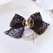 Compact accessories fall/winter new Mao Maobo points made by the band TRANS bead lace black bow hair band
