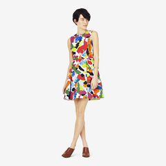 2015 Europe and retro dresses, colorful abstract color block vest dress slim fit slim presale