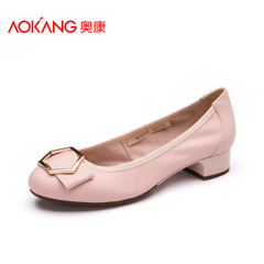 Aokang shoes spring/summer new style leather soft shallow, circular head bow sets foot shoes girls casual shoes