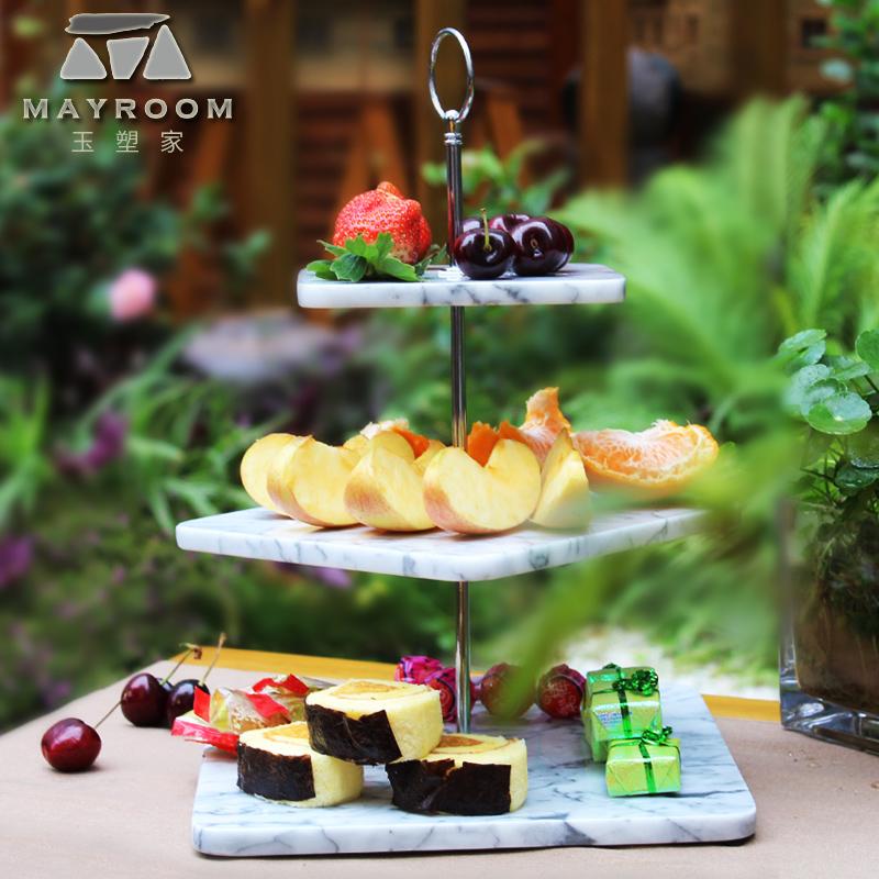 天然大理石三层果盘创意 现代 客厅家用个性简约时尚点心盘水果盆