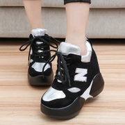 2015 winter season of new sports and leisure shoes lace shoes with high helps increase thick Horseshoe with platform shoes at the end of the tide