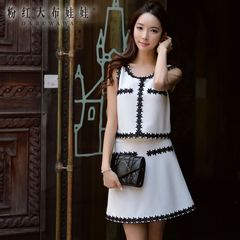 Bag hip dress big pink doll 2015 summer styles dresses with lace fashion a swing skirt skirt