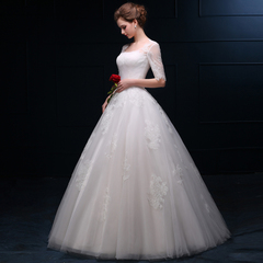 2015 new style long sleeve one shoulder wedding dresses spring summer together in Korean version of custom bridal plus size lace dresses