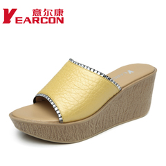 YEARCON/er Kang shoes 2015 summer new rhinestones leather platform wedges women's slippers