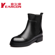 Kang shoes fall 2015 new genuine leather commuter simple comfort chunky heels pointed ladies boots