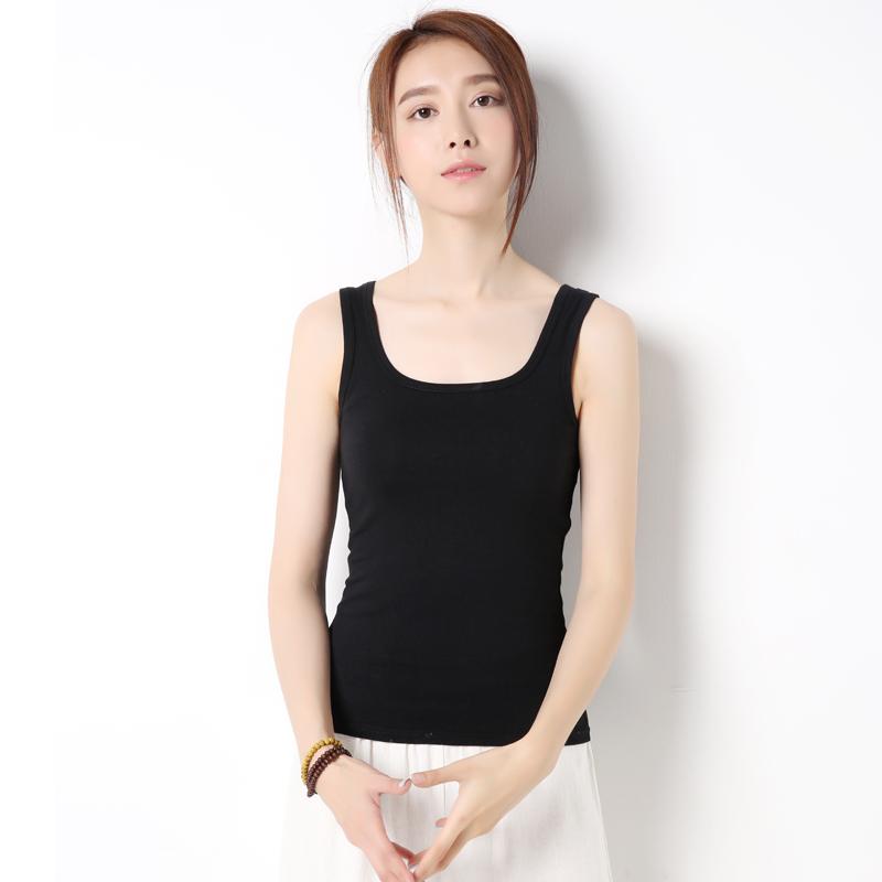 黑色小工字白色纯棉显瘦韩版修身外穿无袖吊带背心女夏短款打底衫