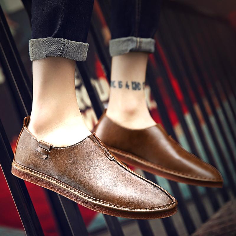 冬季男士休闲鞋棕色小皮鞋英伦潮流豆豆男鞋子懒人潮鞋透气帆船鞋