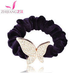 Zhijiang Korea flannel diamond rope ring alloy high tension resistance band tiara ponytail flower hair accessories