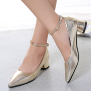 2015 summer styles in crude Sandals Korean leisure sweet Joker women's solid color pointed fashion shoes