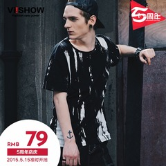 Viishow2015 summer dress new short sleeve round neck short sleeve t shirt men t shirt a solid color Europe and the dark base shirt