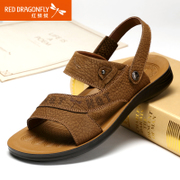 Red Dragonfly summer new genuine leather men Sandals 2015 breathable suede leather leisure Beach men's shoes