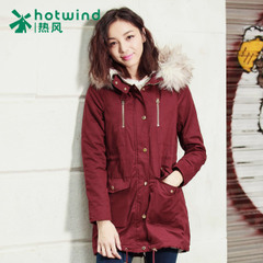 Hot ladies Korean female coat long skinny thick cotton hooded jacket 15H5902