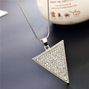 Love Korean triangle long necklace sweater chain women Korea wild fashion jewelry accessory for fall/winter package mail