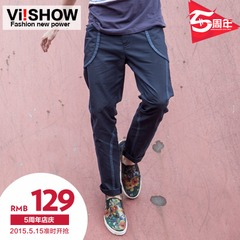 VIISHOW2015 spring youth foot sleek, minimalist style trousers casual pants structure men's pants