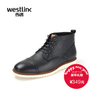 Westlink/West 2015 winter new men's leather strap with round head short flat casual boots
