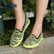 This autumn striped zebra Korean fashion canvas shoes asakuchi breathable shoes with low to help lazy people