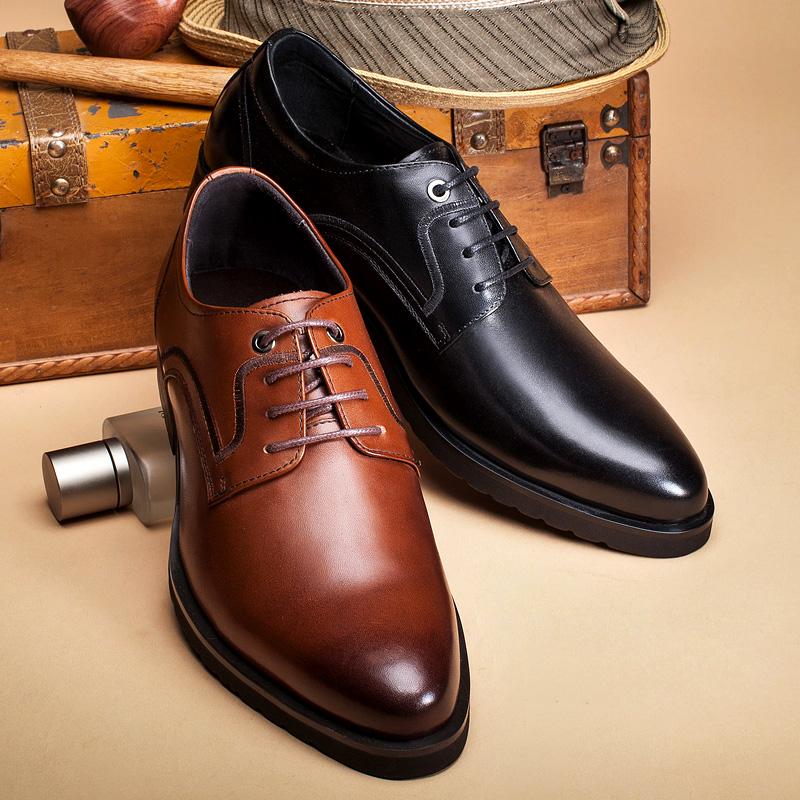 布莱希尔顿正装皮鞋男真皮皮质男士商务系带夏季透气皮鞋男鞋