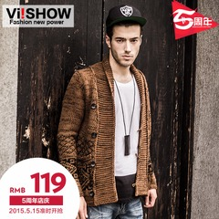 Viishow2015 slim spring clothing new men's sweater men's sweater knit Cardigan lapel coat