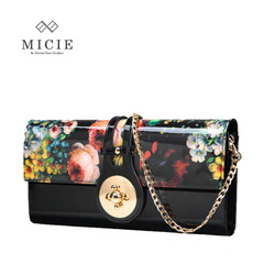 European retro BLK female leather clutch bag chain bag canvas hand bag print patent leather banquet dinner package