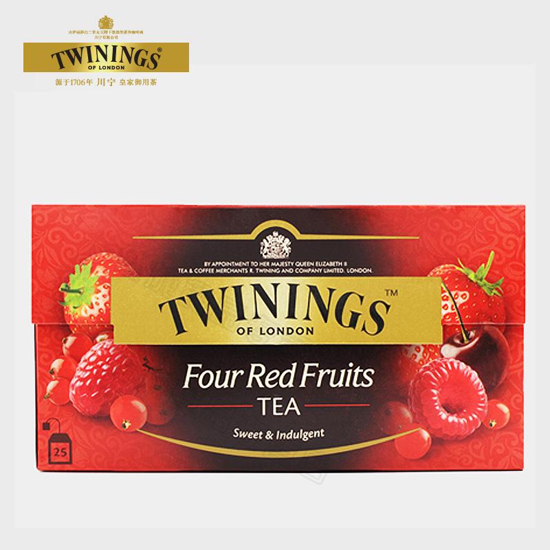 包邮进口红茶Twinings川宁四红果果香红茶25片袋泡茶水果茶叶冲饮