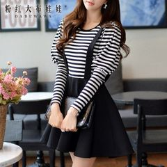 Fake two piece dress big pink doll 2015 autumn new female fashion self stripe long sleeve dress
