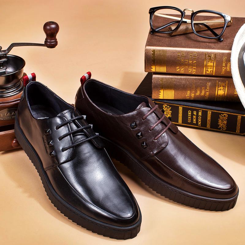 布莱希尔顿夏季复古增高鞋厚底商务男鞋英伦男士休闲皮鞋单鞋
