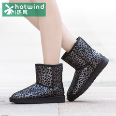 Hot Lady Leopard new flat round head short snow boots winter boots warm boots women 75F5903