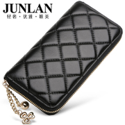Chun LAN wallet genuine leather ladies wallet large zip around wallet handbag lambskin large-capacity mobile foreskin clip