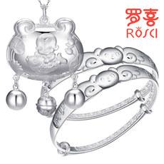 宝宝银饰套装礼盒长命锁银锁平安锁纯银婴儿手镯儿童满月周岁礼物