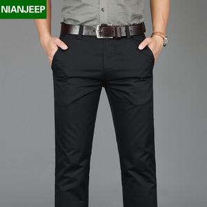 夏季新款男裤NIANJEEP纯棉男裤子宽松商务休闲裤潮流黑色直筒长裤