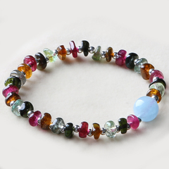 Natural ore tourmaline bracelet ladies across the small Silver 925 Silver Sapphire Zhuhai across the Pearl fashion jewelry benefits