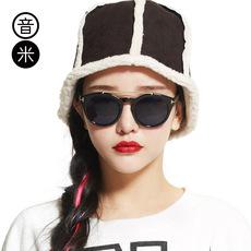 音米2016新款时尚复古潮人圆形墨镜 男情侣眼镜防紫外线太阳镜 女