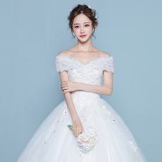 一字肩婚纱礼服2018新款韩式新娘简约大码显瘦长拖尾齐地公主轻女