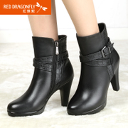 Red Dragonfly leather women shoes winter fashion new style rough with simple warm and comfortable leather side zip boots