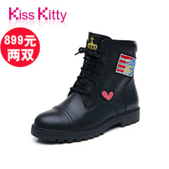 [899元2双]Kiss Kitty美式休闲式靴2016冬季新品低跟矮靴摩登女靴
