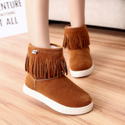 2015 winter season new Korean version add shoes short boots snow boots warm shoes with tassels at the end of women's boots