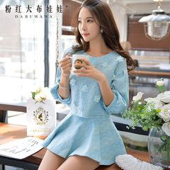 Spring and autumn coat women pink doll fall 2015 blouses thin lace cropped sleeve Jacket Women