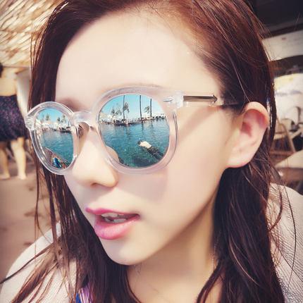 女明星瘦脸墨镜2017时尚百搭防紫外线太阳镜男炫彩反光大圆框眼镜