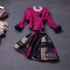 Fall/winter 2014 new European fashion vintage printed dresses, ladies temperament two-piece woollen suit #